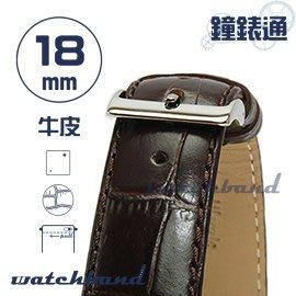 【鐘錶通】C1.28I《亮彩系列-手拉錶耳》鱷魚格紋-18mm 古典褐┝手錶錶帶/皮帶/牛皮錶帶┥