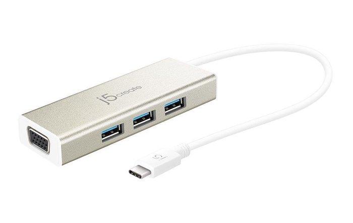 【開心驛站】 凱捷j5create JCH411 USB 3.1 Type-C轉VGA充電傳輸集線器