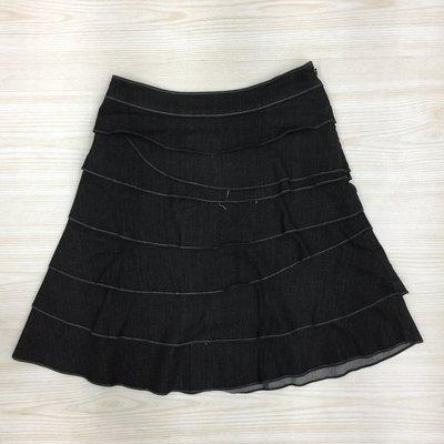 【愛莎&嵐】 I-LEY 伊蕾 黑色層次設計及膝短裙 / M  1080215