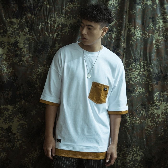 """GHK """"Abstract Collection"""" 2 TONE TEE 白/薑黃"""