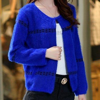 韓版毛海毛衣針織外套罩衫中短版 氣質針織修身外套(寶藍色)-艾發現
