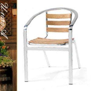 【推薦+】扁管鋁木椅P020-U-1030A休閒椅子.造型椅.咖啡椅.戶外椅.麻將椅.餐廳椅.庭園椅傢俱