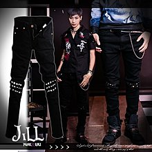 Oo吉兒oO龐克視覺系樂團 韓國版型龐克風三排鉚釘修身鉛筆緊身長褲 PUNK【J2L2002】
