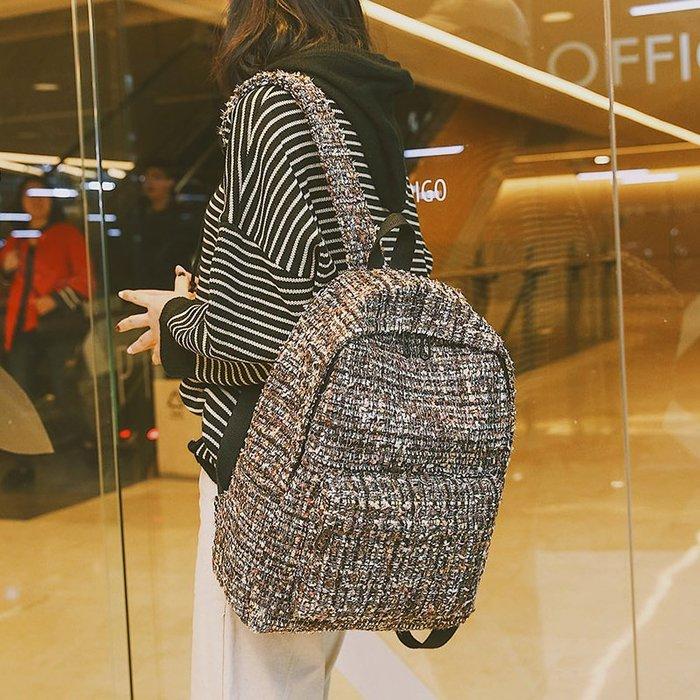 書包女 雙肩包女韓版 學院風 學生 百搭 毛呢格子個性高中潮 背包 時尚背包
