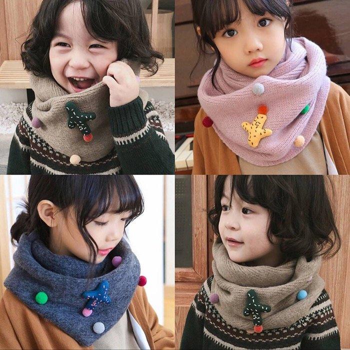 【小阿霏】兒童圍脖 可愛毛球仙人掌保暖毛線針織圍巾 女童男童脖套脖圍 自留款品質佳中大童可AC32