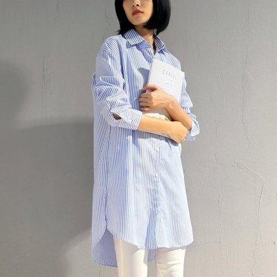 ZIHOPE 襯衫 春秋新款前短後長側開叉條紋襯衫女長袖中長款寬鬆顯瘦襯衣ZI812