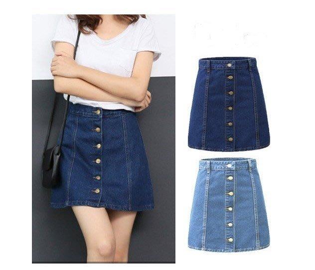 韓劇宋慧喬同款A字裙短裙排扣牛仔裙(藍色/淺藍色/ M L XL )太陽的後裔