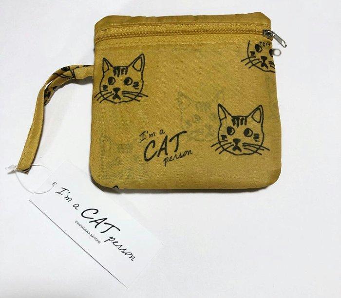 天使熊雜貨小舖~日本帶回貓咪摺疊購物袋  環保袋  全新現貨