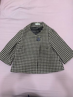 專櫃少女裝品牌non.stop咖啡色 千鳥紋 七分袖 斗篷外套