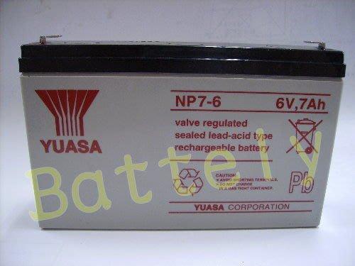 【倍特力電池】台中 台灣湯淺 YUASA NP7-6 6V 7AH 不斷電系統 UPS 照明燈 電子秤專用