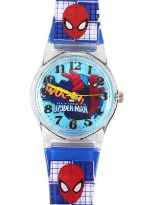 【卡漫迷】蜘蛛人 手錶 藍 格紋 ㊣版 Spiderman 蜘蛛俠 男童 卡通錶 男錶 兒童錶 小膠
