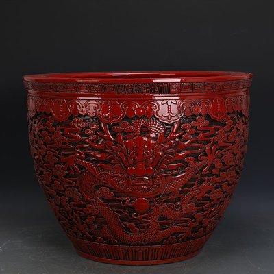 ㊣姥姥的寶藏㊣ 大清乾隆紅釉雕刻浮雕五龍圖瓷缸 官窯  古瓷器 古玩古董收藏