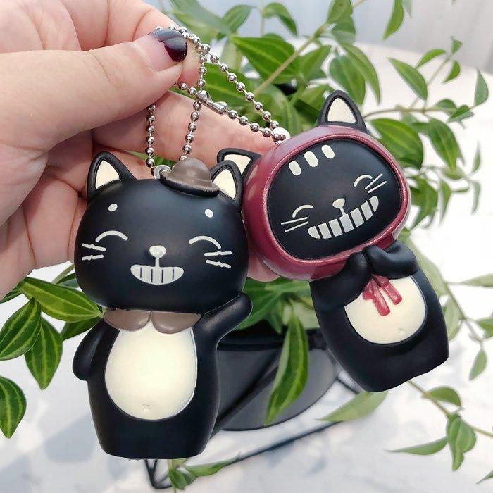 ins卡通BB叫情侶喵星人可愛小黑貓汽車鑰匙扣男女包包鑰匙鏈掛件卡通鑰匙圈掛飾百搭掛件飾品包包掛飾手機掛飾禮品