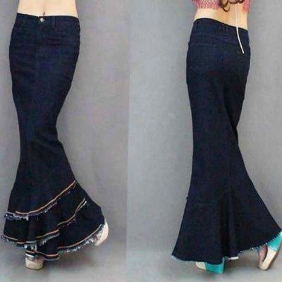牛仔長裙 #F-088 人魚尾裙襬設計款