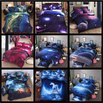 暖暖本舖 會員單買加購枕頭套區 夢幻3D銀河星空 鬆緊帶 雙人床 床包 (被套+床單+枕頭套) 皮卡丘 星空床 神奇寶貝