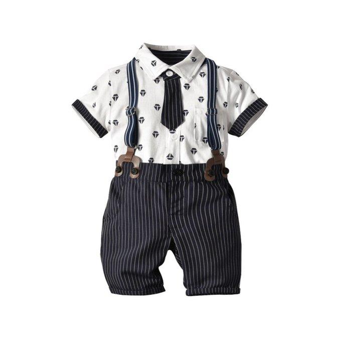 新款 童裝 童套裝鉆石條紋領帶純棉開衫假兩件背帶斜紋中褲四件套裝