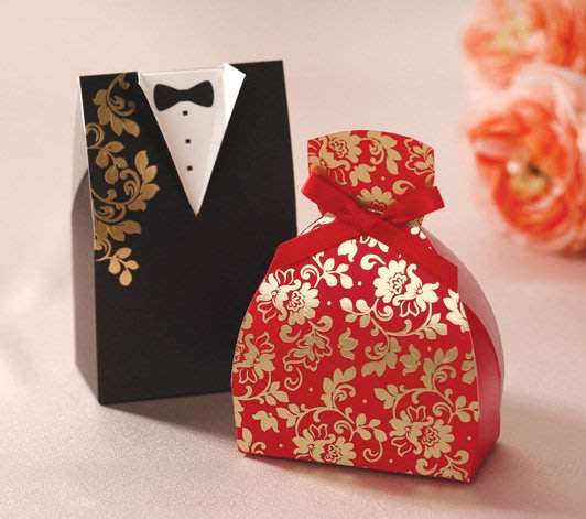 韓風新郎新娘喜糖盒 一對 * 喜糖盒 婚禮小物 包裝盒 喜糖 囍糖 棉花糖 網紗袋 水鑽 喜帖 蝴蝶結