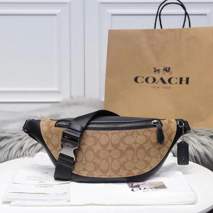 COACH 78777新款男士腰包 全素色PVC配牛皮經典C字底紋胸包 時尚簡約