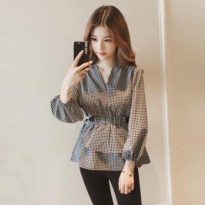 ZIHOPE 襯衫 春裝新款很仙的軟妹格子襯衫女韓版洋氣收腰上衣燈籠長袖襯衣ZI812