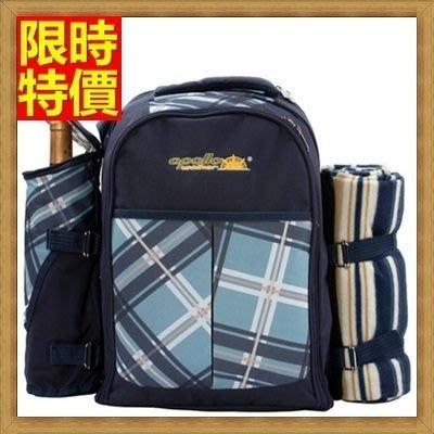 野餐包 2人餐具組 雙肩後背包-藍色調旅行袋地墊便當保溫多袋野餐包 68ag11[獨家進口][米蘭精品]