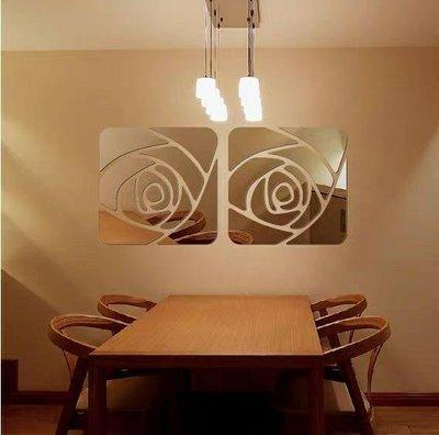 【閨蜜派】玫瑰花形 鏡面 立體 牆貼 壁貼 客廳 玄關 沙發牆 電視牆 鏡子 蜂巢狀 裝飾