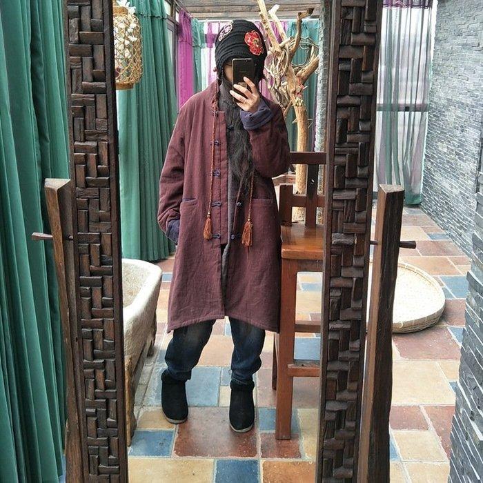 【子芸芳】原創水洗亞麻中式盤扣立領手工縫線中長鋪棉大衣
