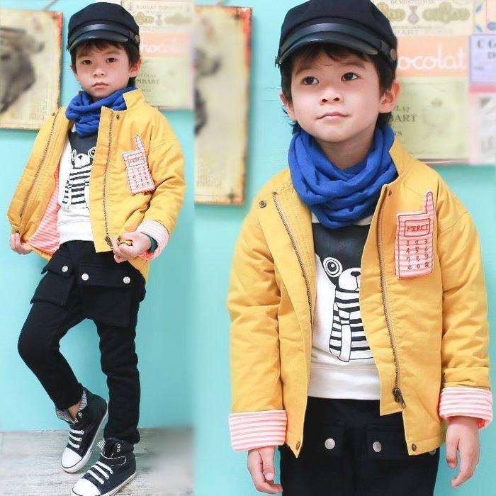 【班比納精品童裝】鋪棉條紋手機別針反摺袖外套-黃