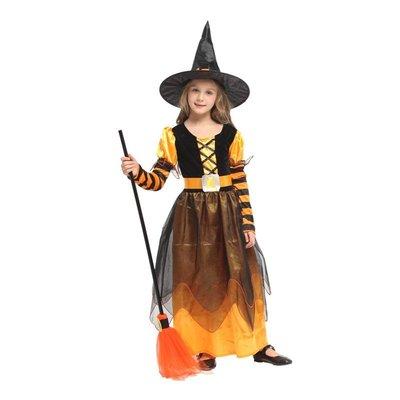 乂世界派對乂 萬聖節服裝-萬聖巫婆裝/兒童變裝/橘色巫婆/淘氣橘黑小女巫