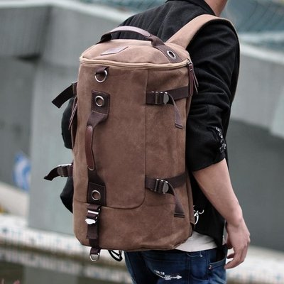 雙肩包男韓版戶外旅行背包帆布男士背包大容量圓桶包學生雙肩背包