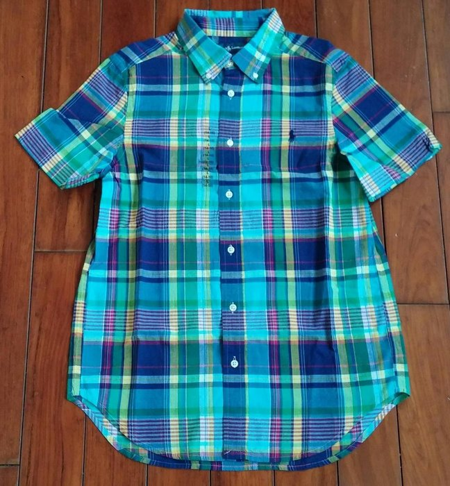 全新美國Polo Ralph Lauren藍綠格紋繡馬短袖襯衫 大童L