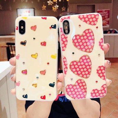 Little-luck~網紅愛心iphoneXs max滴膠手機殼7plus水鉆女款硅膠套8p少女蘋果