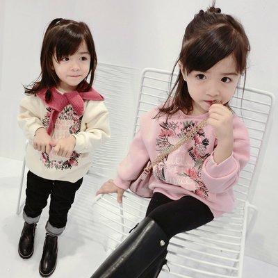 (親子款母女裝)加絨針織衫•花圈刺繡大學T 韓版秋冬 男女童裝寶寶H- #80-140cm