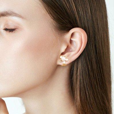 SWEET COVE~小眾無痛珍珠花朵水晶耳夾女高級感輕奢氣質無耳洞法式復古顯臉小