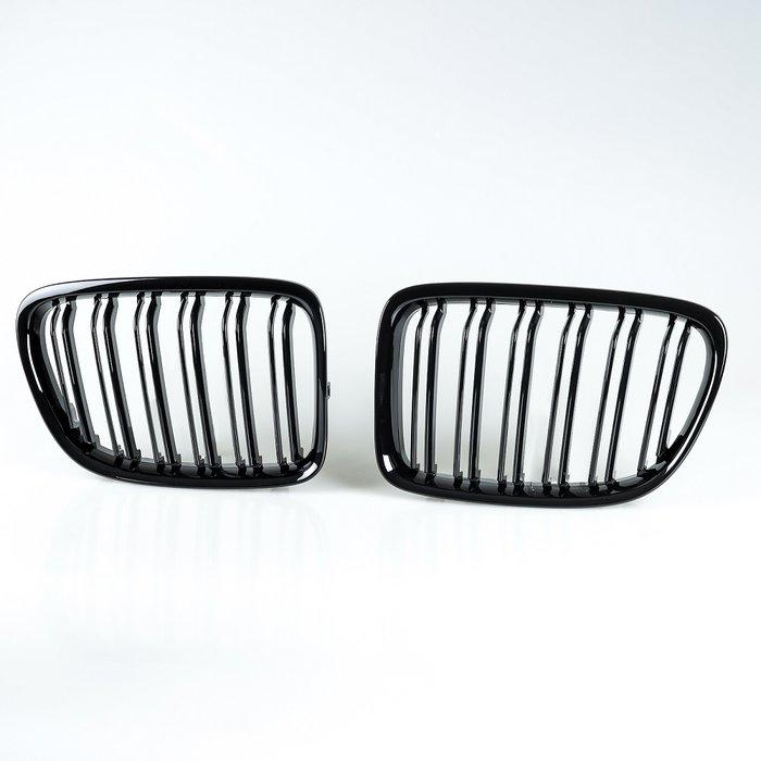 [亮光黑] M樣式 水箱罩雙柵欄鼻頭 寶馬BMW X1 E84用 2008-2014年適用/汽車外飾交換件