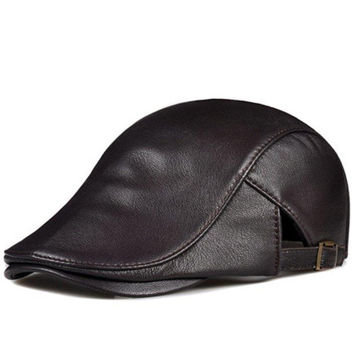 ~皮皮創~原創設計手作小羊皮小偷帽子。真皮鴨舌帽 英倫風復古時尚百搭雅痞帽 左右可調節頭圍大小