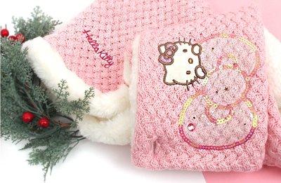韓國winghouse 兒童冬季配件  HELLO KITTY 刷毛帽圍巾組 HK0015