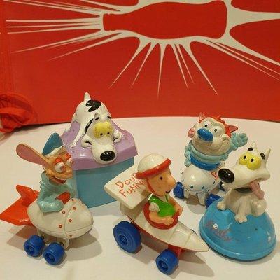 1994年美版 ~美國速食店Hardee's兒童餐~Nickelodeon Ren & Stimpy/ Hardees kids meal toys狗~五個1拍