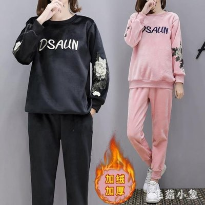 ZIHOPE 大尺碼孕婦套裝2019新款加絨加厚雙面絨保暖衛衣兩件套裝ZI812