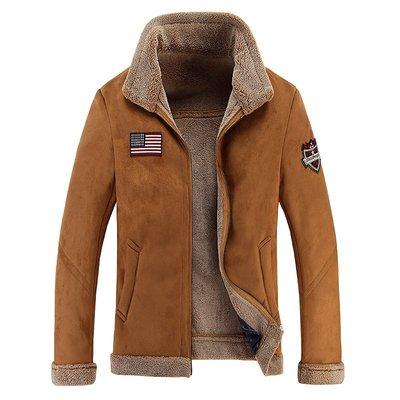 皮衣 外套 翻領夾克-皮毛一體羊羔毛保暖男外套2色73wn18[獨家進口][米蘭精品] 高雄市