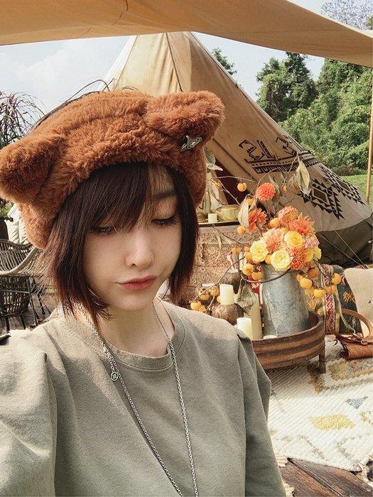 【鈷藍家】原創設計獨特小眾帽飾冬韓國可愛復古五角星立體貓耳朵毛絨保暖寬髮帶彈力頭飾