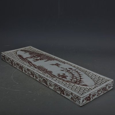 ㊣姥姥的寶藏㊣ 大明宣德釉里紅手繪花鳥紋長方形茶盤  官窯古瓷器古玩古董收藏品