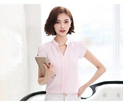 女 短袖 襯衫 雪紡 韓版 V領 氣質 OL 上班族 【柔依衣坊 Zoe Shop】C53-818
