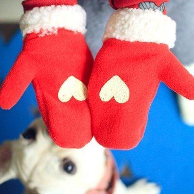 韓國童裝 男女童愛心手套             現貨 紅