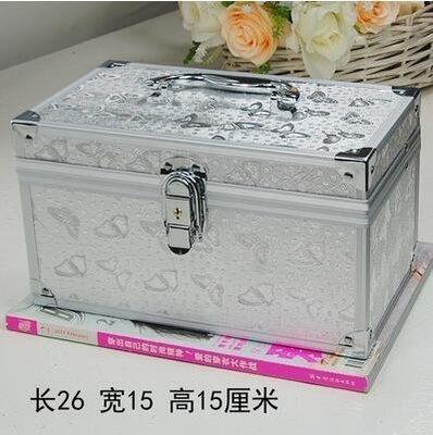 【優上】大中小號帶鎖化妝箱美甲紋繡足療工具箱26CM銀色蝴蝶