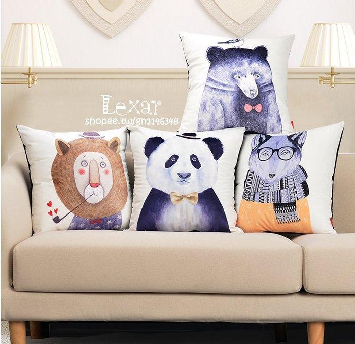 北歐可愛卡通客廳沙發毛絨靠墊動物萌寵呆萌貓豬熊抱枕辦公室腰枕
