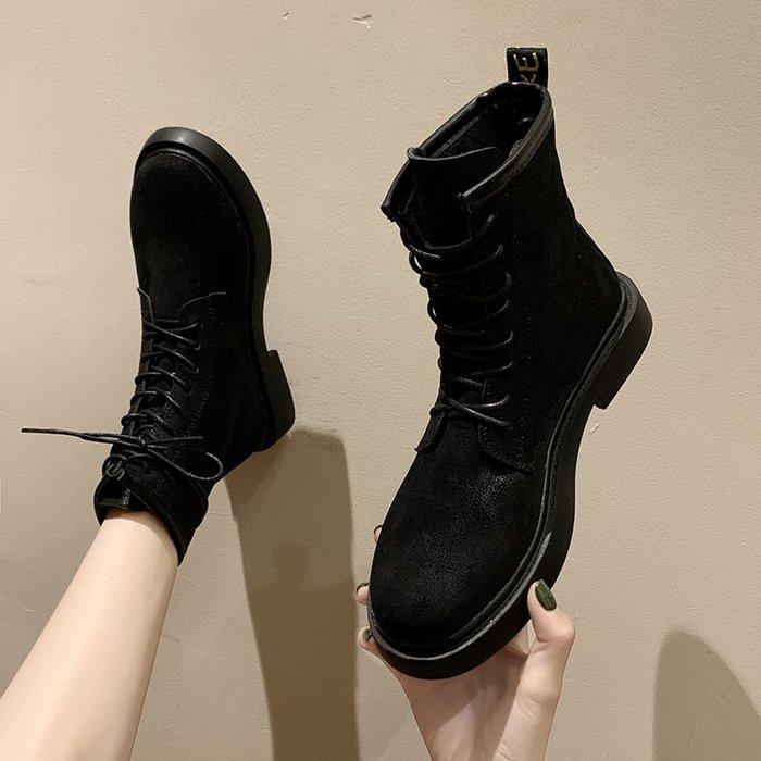 冬季保暖女靴 馬丁鞋 長靴機車靴 韓版百搭帥氣馬丁靴女秋冬英倫風百搭平跟短靴女系帶短筒女單靴子