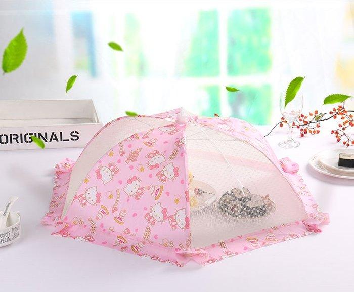 KITTY美樂蒂卡通可折疊飯菜罩子桌蓋菜罩餐桌罩食物防蒼蠅家用遮菜蓋傘大號食物罩