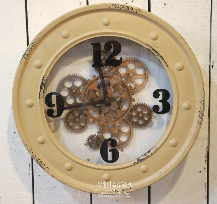 ~*歐室精品傢飾館*~Loft工業 美式鄉村 鐵製 做舊 復古 齒輪 會轉動 時鐘 大掛鐘 駝色 擺飾 裝飾~新款上市~