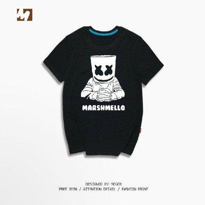 【短袖】Marshmello純棉短袖T恤footprints 電音Skrillex同款百大DJ打底衫