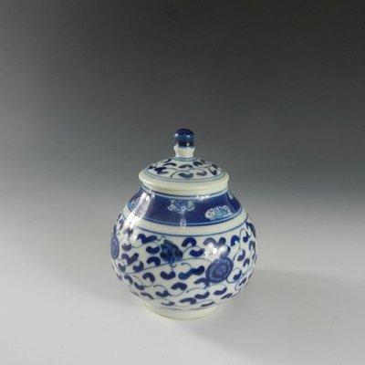 百寶軒 小茶瓷館手工手繪青花茶葉罐蓋罐功夫茶具仿古瓷器景德鎮 ZK1075